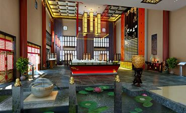 现代中式展厅装修效果图,典雅清新调蕴含特有的气质