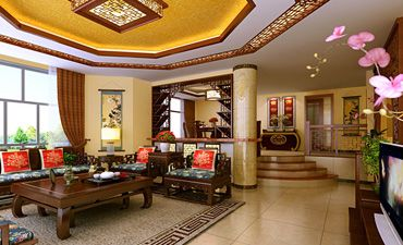 古典中式别墅装修效果图,奢华富丽优雅大气