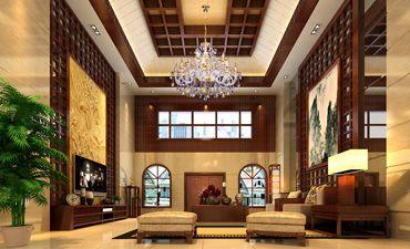 现代别墅中式装修效果图,沉稳大气糅合朴雅之风