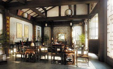 四合院中式装修效果图,营造浓郁的中国风味