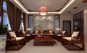 烟台样板间中式装修案例,简洁时尚温馨舒适