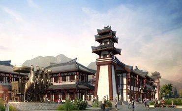 中式未央广场设计效果图,再现气势恢宏的大汉雄风
