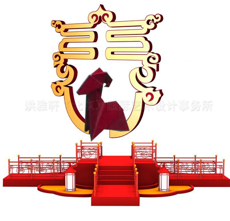 春节广场景观手绘效果图