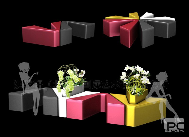 某商城花缸座椅美陈设计效果图4