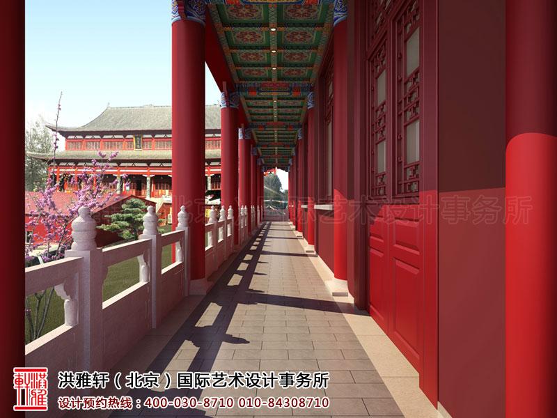 泊莲禅寺古典中式装修 一层走廊