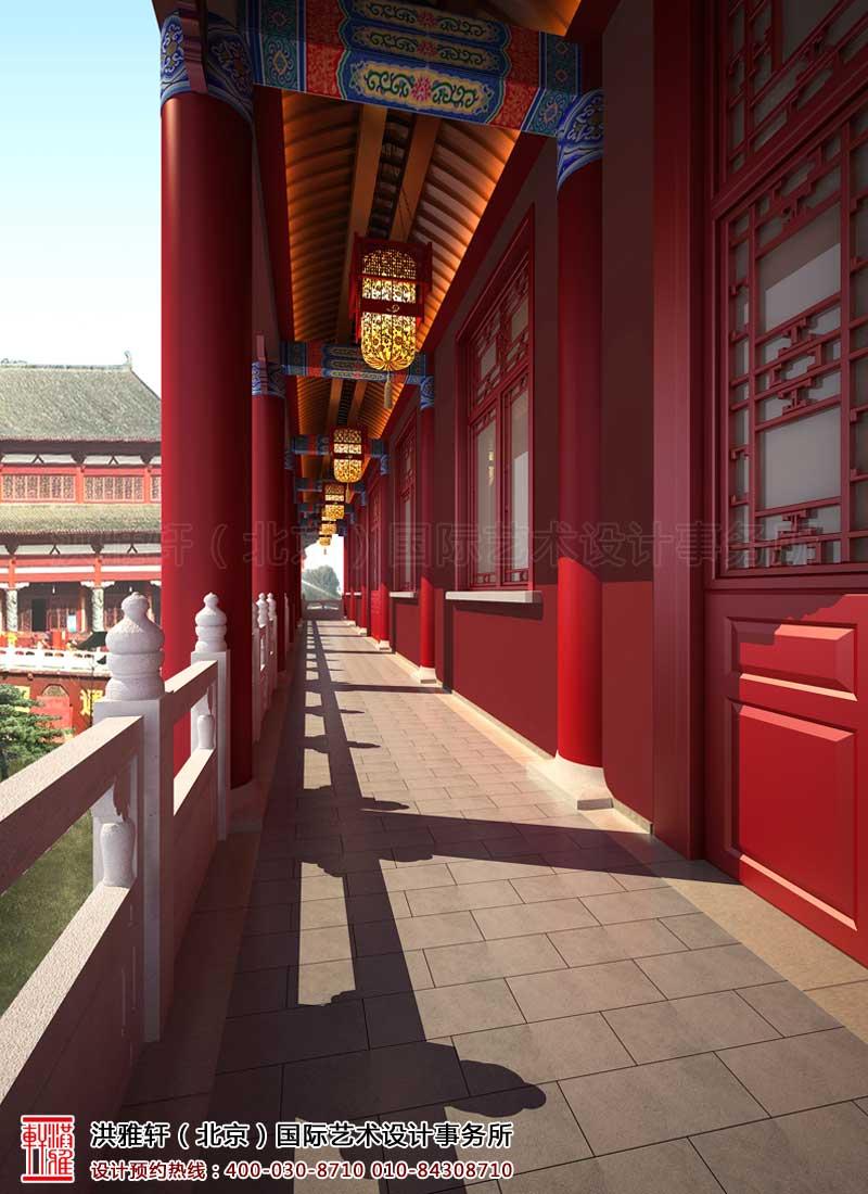 泊莲禅寺古典中式装修 课堂二层走廊