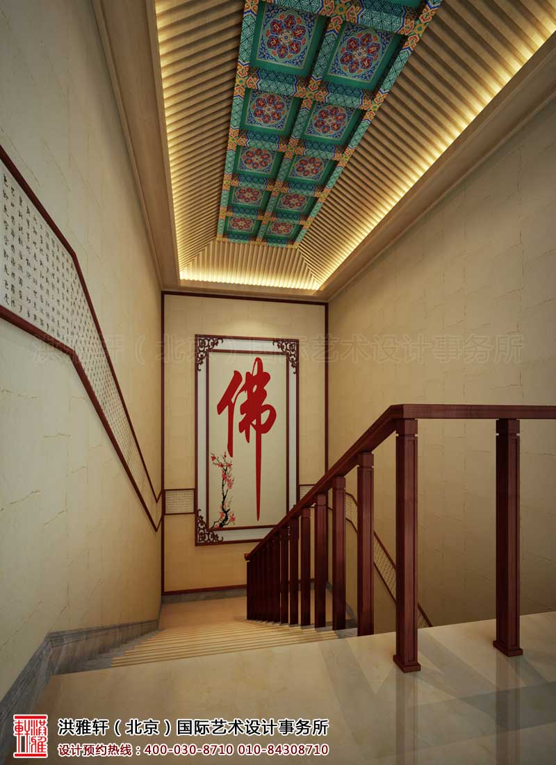 泊莲禅寺古典中式装修 楼梯间