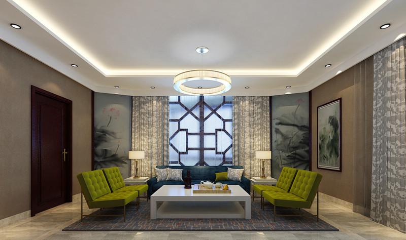 客厅中式装修-窗帘图片