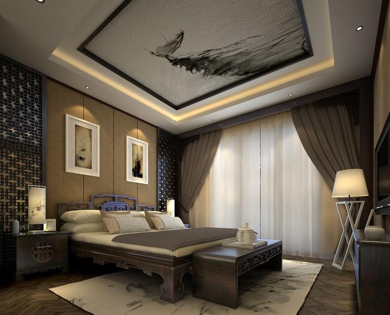 中式装修卧室窗帘-家居中式装修中每一个独立空间选择窗帘的方法