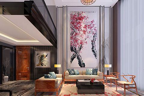 棕榈滩新中式样板间效果图,营造出优雅温馨的视觉效果