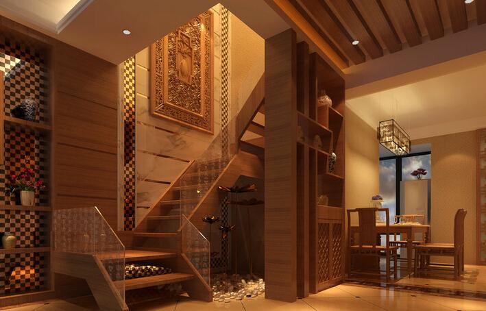 别墅中式装修上楼梯风水布置让你好运连连