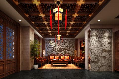 沈阳会所古典中式装修案例--精致奢华 空旷浑厚