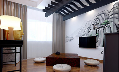 横平竖直的简朴线条设计禅意中式装修家居