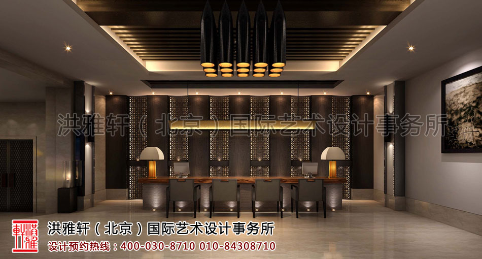 大厅视角客栈新中式装修风格