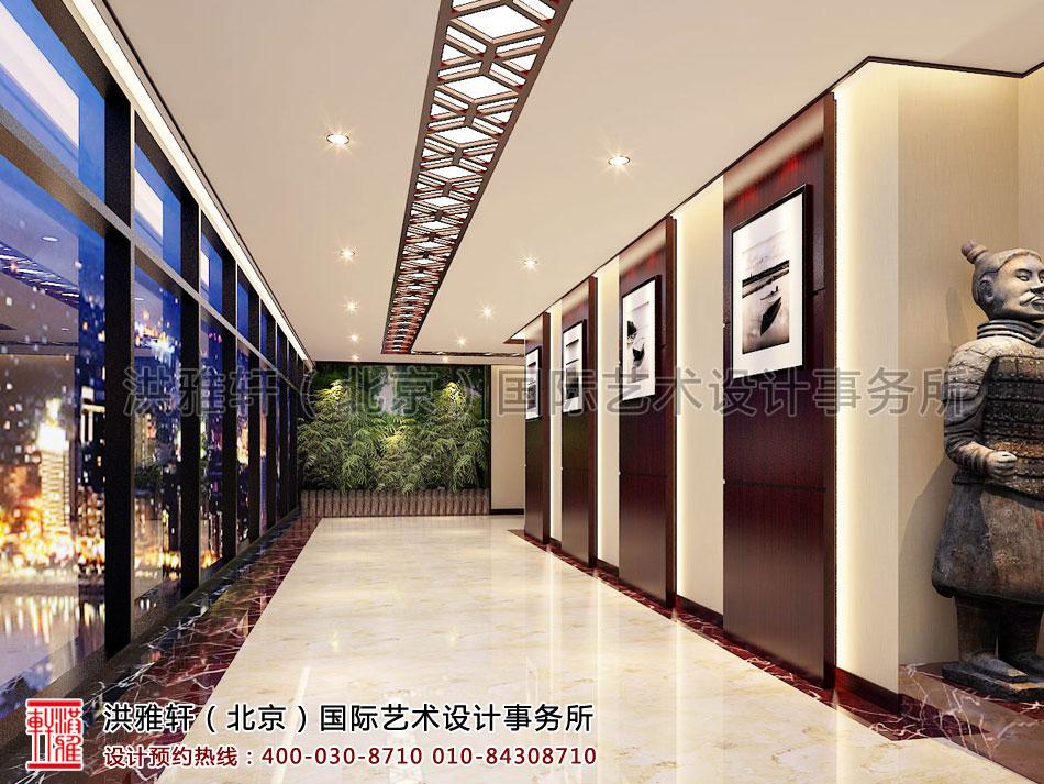 新古典中式装修办公室走廊