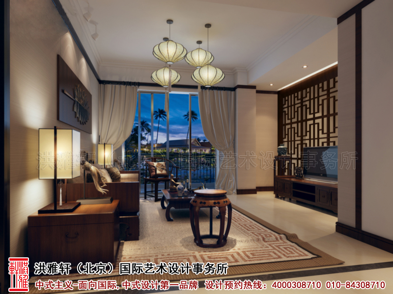 客厅简约中式装修北京精品住宅