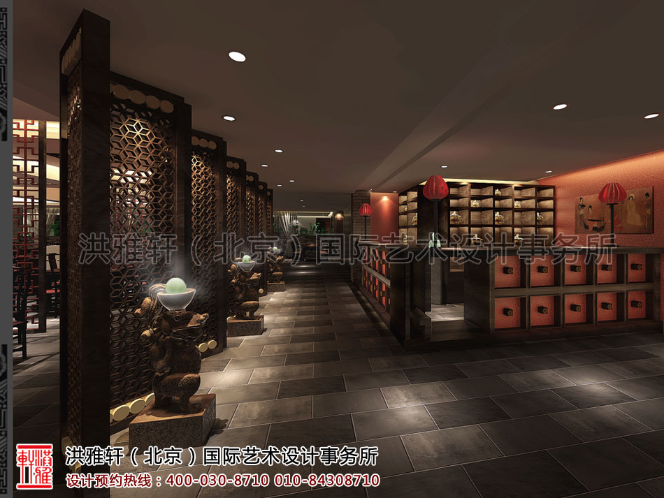 餐厅门厅古典中式装修济南