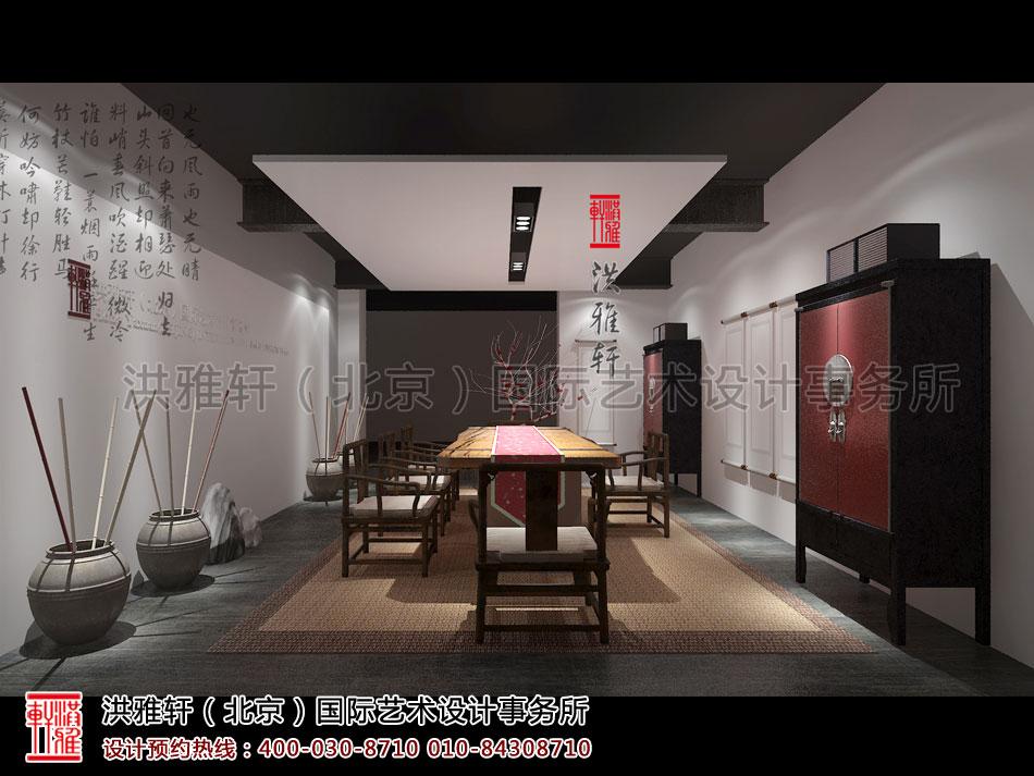简约中式风格禅茶室设计效果图