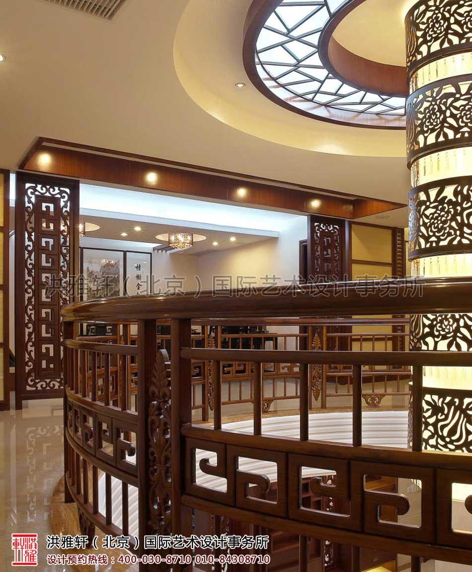复式楼现代中式装修风格二层过道