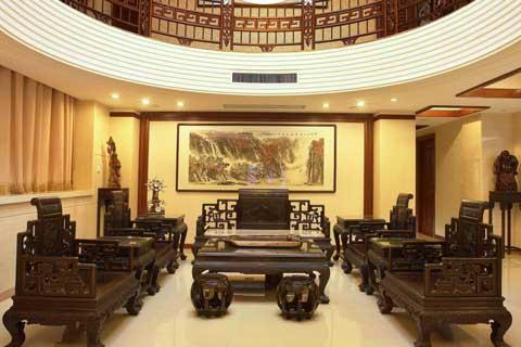北京红木展厅现代中式装修案例,大气庄雅古韵浓郁