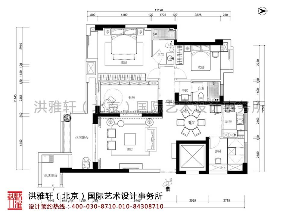 顺义精品住宅新中式设计平面图