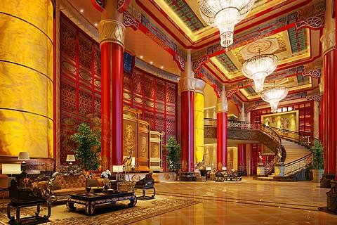 海南海棠湾会所古典中式装修,彰现着华贵而瑰丽的光华