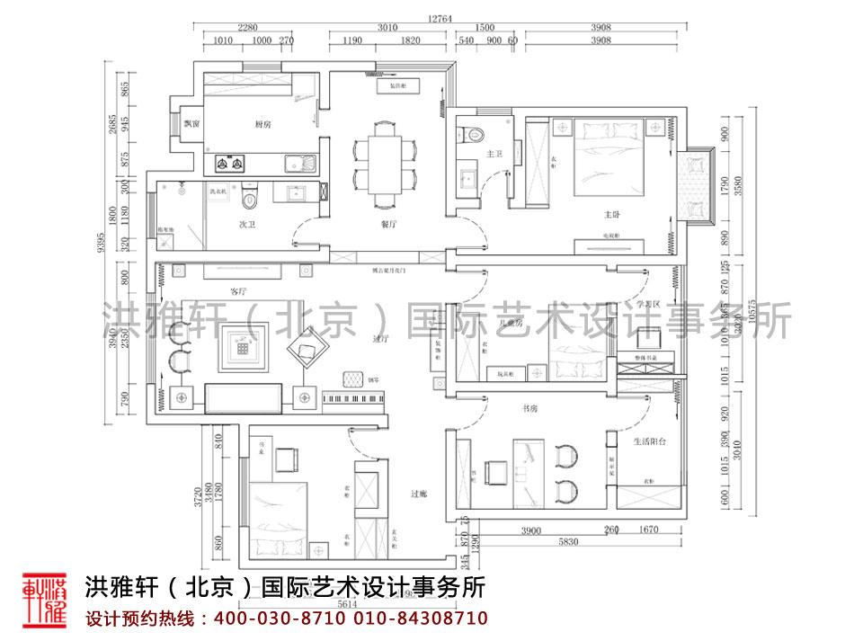 湖北荆州精品住宅古典中式装修平面图
