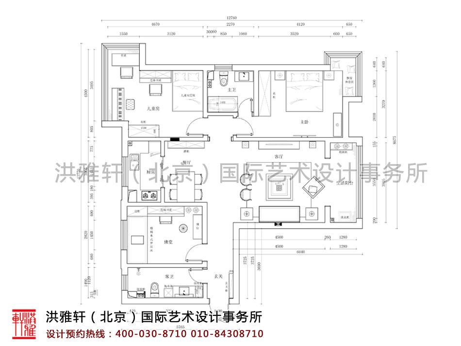 河北石家庄新中式精品住宅装修平面图
