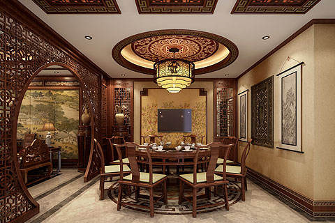 秦皇岛别墅古典中式装修设计案例—沉静含奢华 古朴融安逸