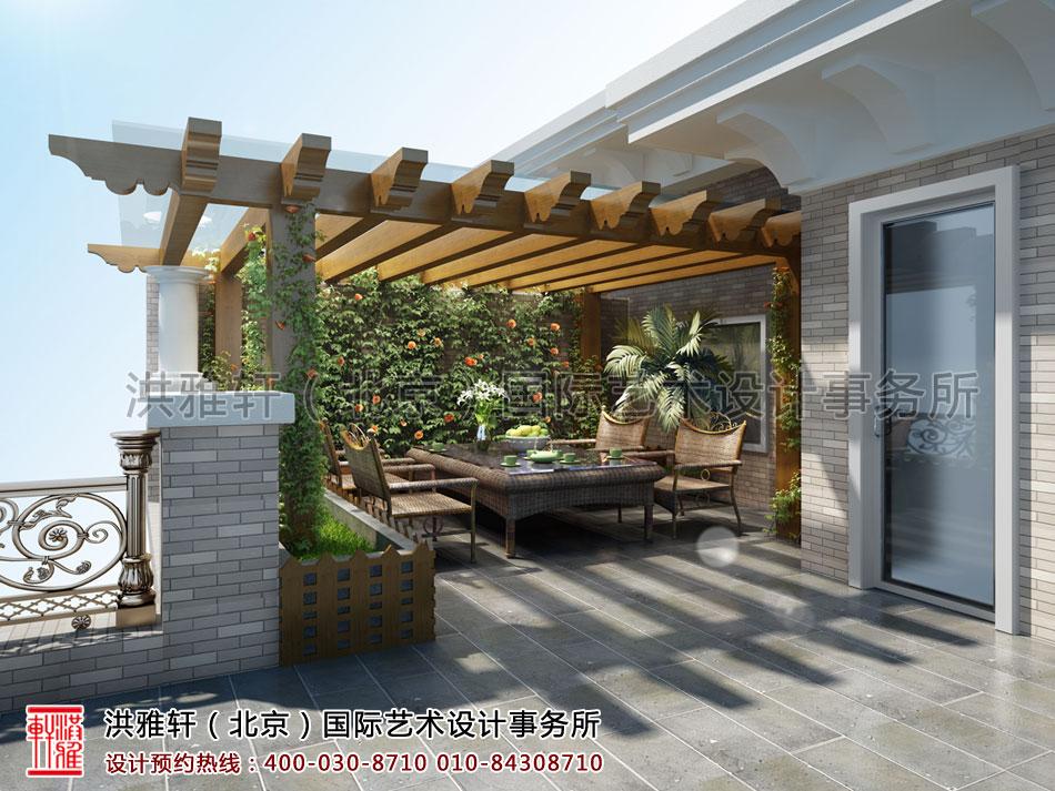 秦皇岛别墅古典中式装修露台