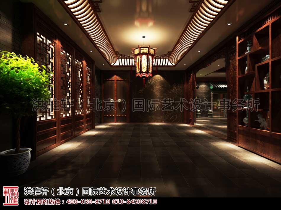 上海古典中式装修休闲会所门厅