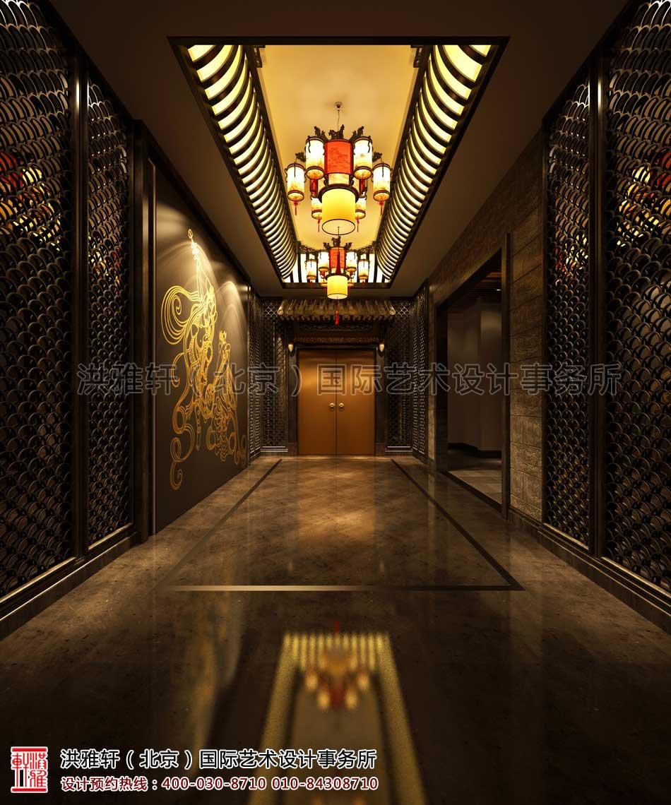 上海古典中式装修休闲会所二楼门厅