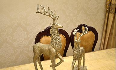 树脂鹿摆件新中式装修空间里的另类高贵风雅