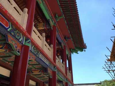 河北省泊头市泊莲禅寺寺院装修施工现场