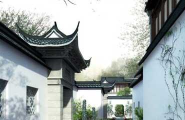 江南中式庭院  清风花雨点染粉墙,葳蕤青碧缀饰黛瓦