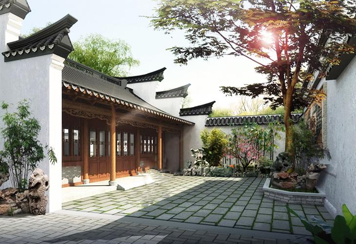 江南风格中式别墅庭院空间  清幽雅境妙蕴无穷