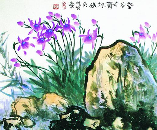 国画兰花——氤氲中式居室空间一方素雅兰韵之美