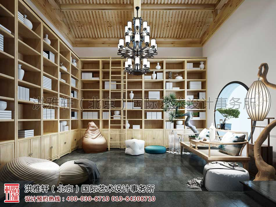 会所中式设计之书房