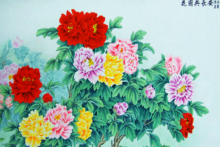 中式空间牡丹工笔画——红艳袅烟疑欲语,素华映月只闻香