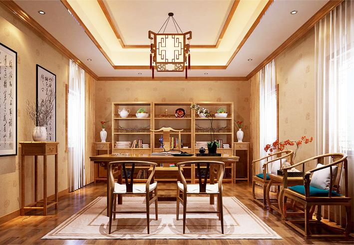 中式设计书斋逸散着传统文化的脉脉幽香