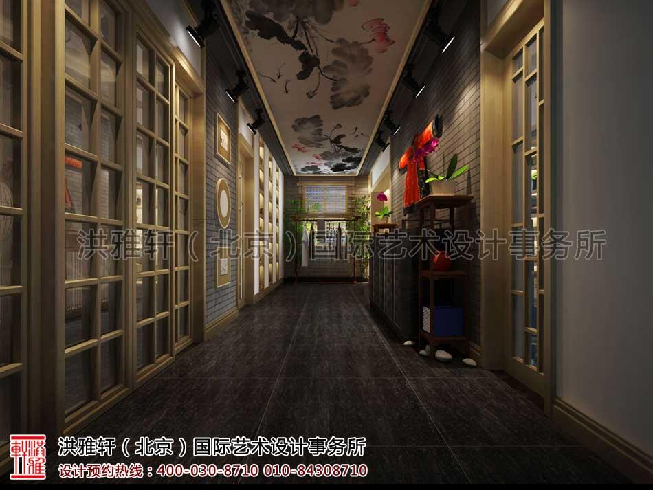 山东济南茶室中式设计之过道效果图
