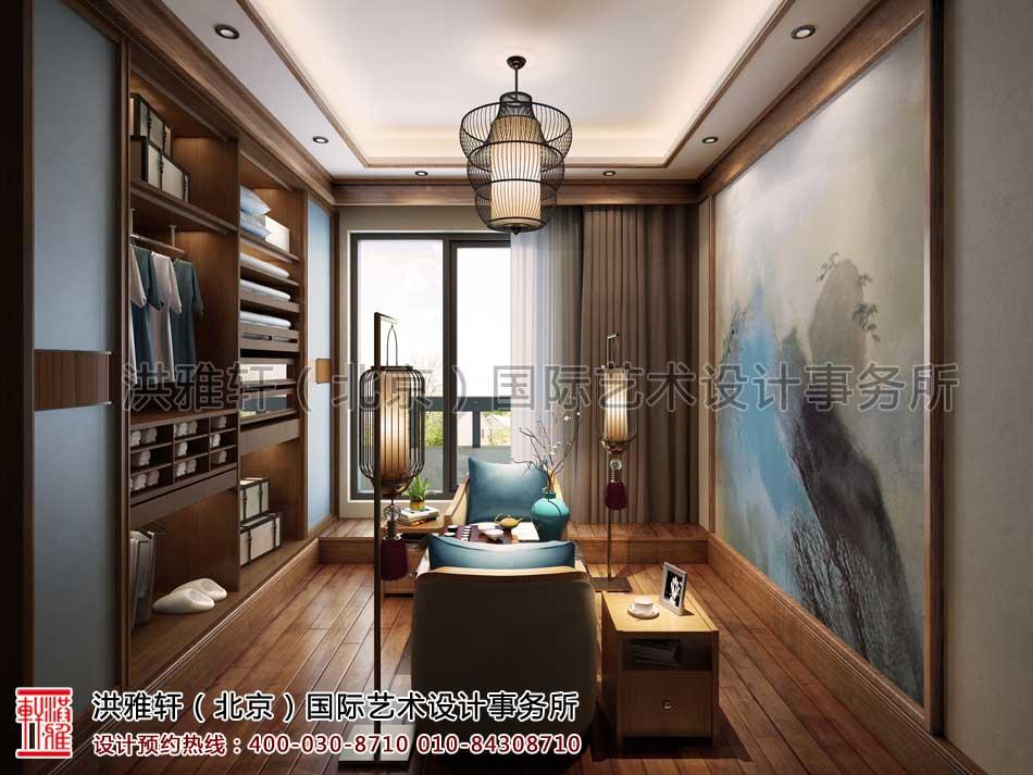 泰禾北京院子别墅中式设计之三层衣帽间兼书房