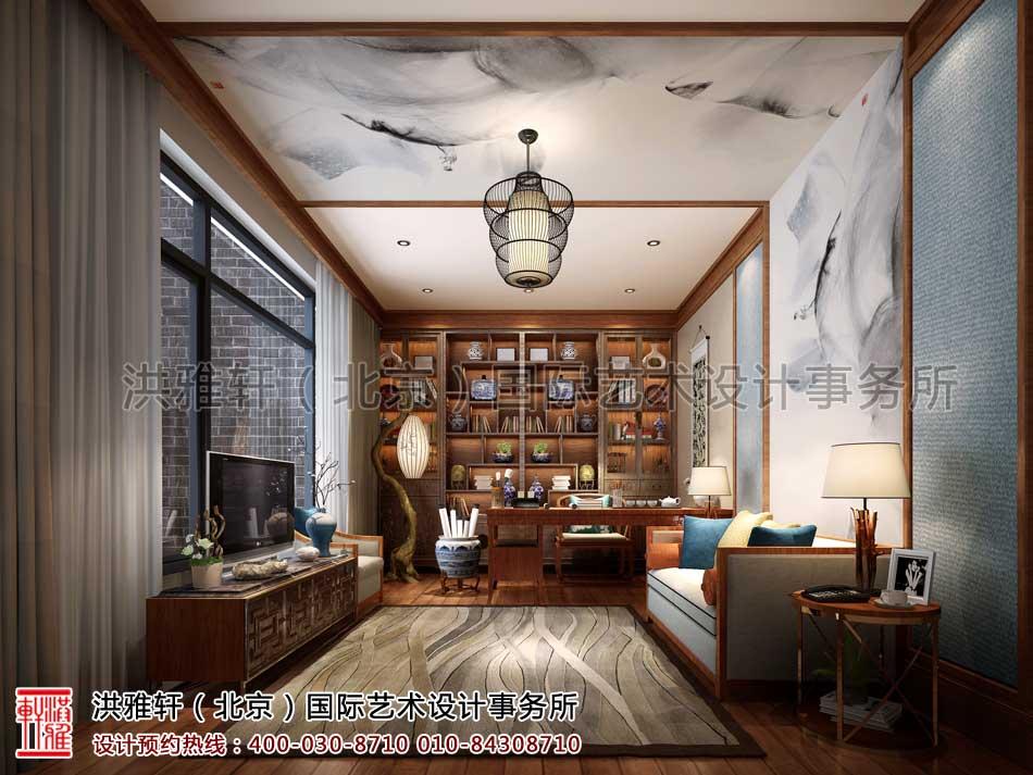 泰禾北京院子别墅中式设计之负一层客房兼书房