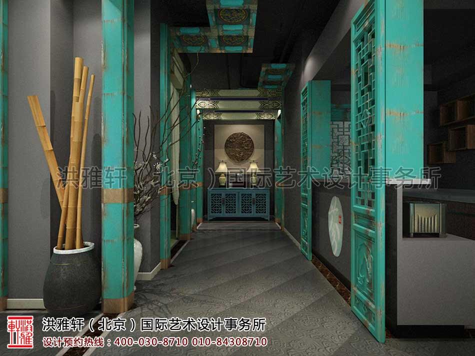 北京建外SOHO茶楼中式设计 -二层吧台走廊