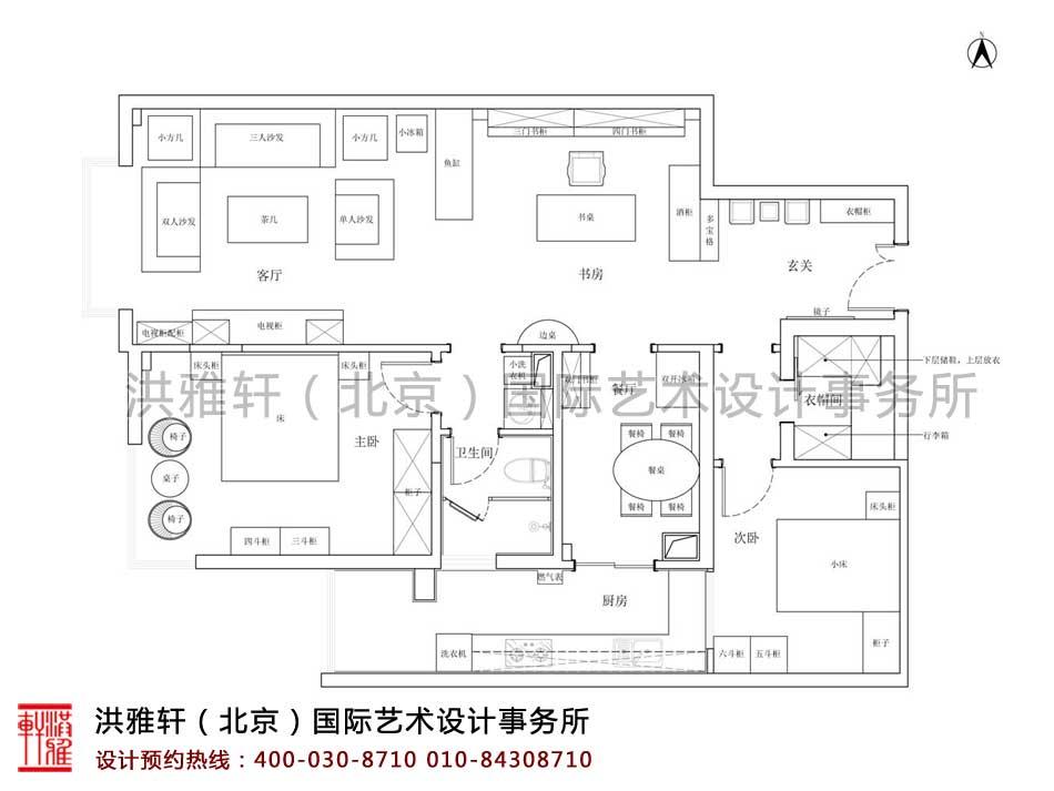 北京人济山庄中式家装设计之布局功能设计平面图