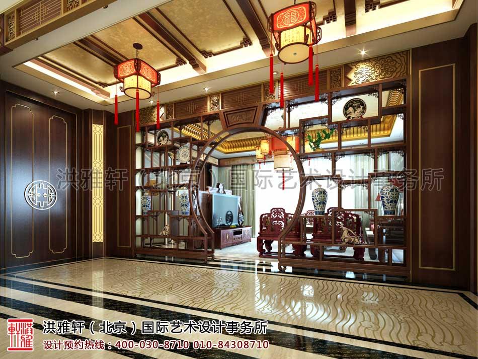 河北廊坊私人会所中式装修之二楼会客厅效果图