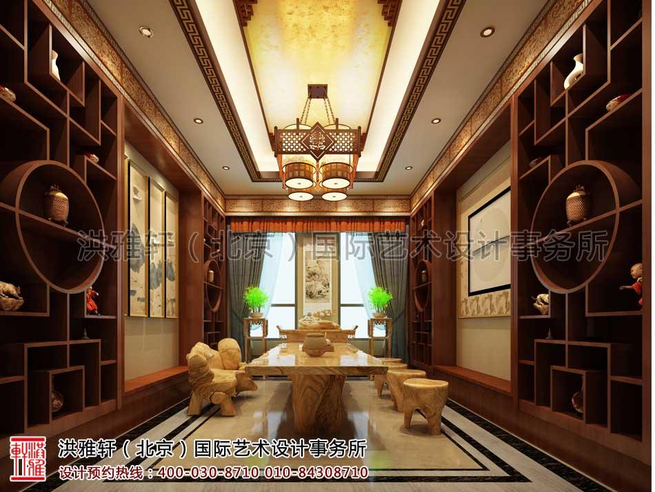 河北廊坊私人会所中式装修之二楼棋牌室效果图