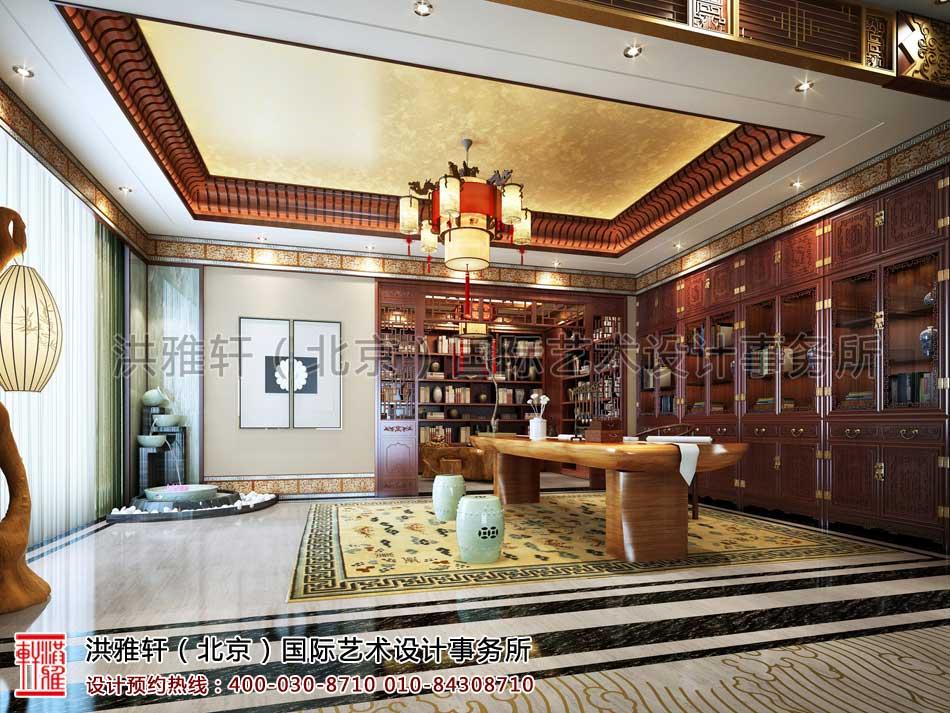 河北廊坊私人会所中式装修之二楼书画室效果图