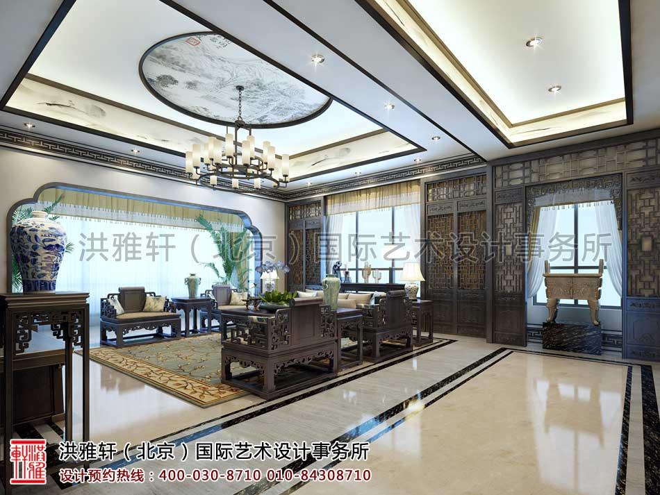 河北廊坊私人会所新中式设计之会客厅设计效果图