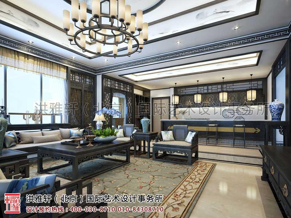河北廊坊私人会所新中式设计之会客厅水吧效果图